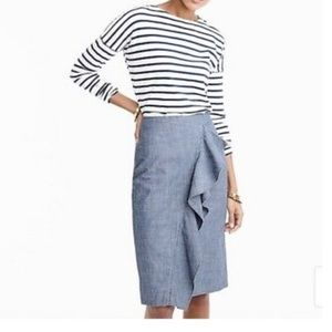 J Crew Ruffle Pencil Skirt In Chambray 8